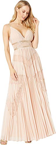 BCBGMax Azria Women's Sleeveless Lace Inset Pleated Gown, Bare Pink, 8