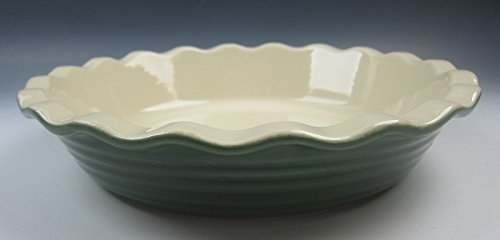 Emile Henry China LE POTIER-GREEN Deep Pie Plate EXCELLENT