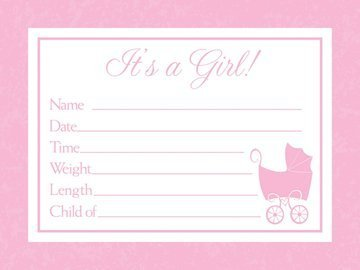 Baby Love Pink Announcements (Birth Pink Announcement)