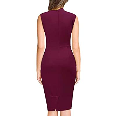 Miusol Women's Retro 1950s Style Half Collar Ruffle Cocktail Pencil Dress at Women's Clothing store