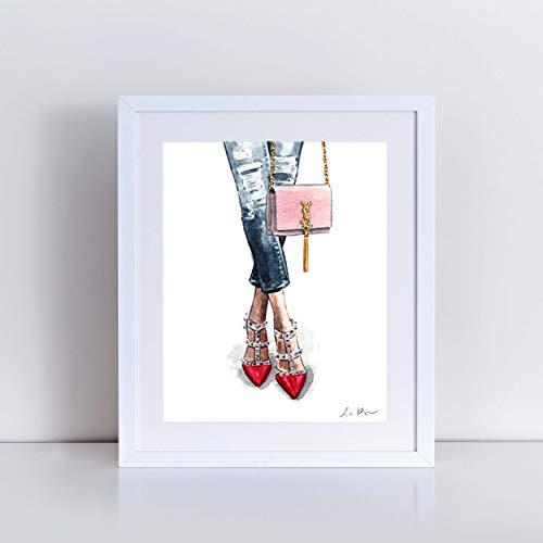 Fashion Art Print Watercolor Painting Wall Decor Valentino Rockstud Pink Red Handbag Designer Fashion Illustration Vogue Shoes Gift for -