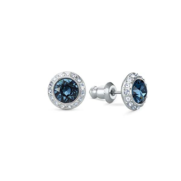 Swarovski Angelic Stud Pierced Earrings with Blue and Clear Crystals on a Rhodium Plated Post with Butterfly Back