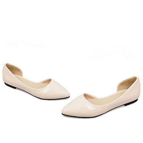 VogueZone009 Damen Spitz Zehe PU Ziehen auf Rein Niedriger Absatz Pumps Schuhe Cremefarben