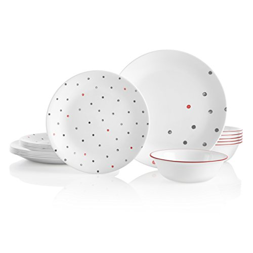 Corelle 18-Piece Service for 6, Chip Resistant, Polka Dottie Dinnerware Set, ()