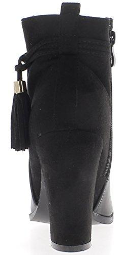 grande scamosciata da tacco Stivali con 10cm nero pompon donna in look e pelle 1IxSzq