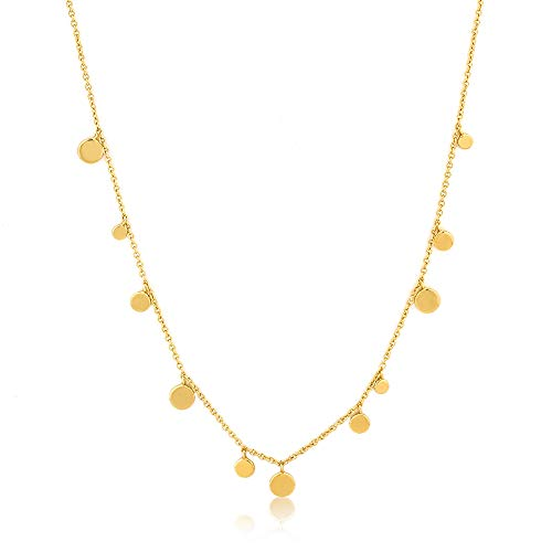 Fun Boho 925 Sterling Silver Layered Dainty Delicate Ball Circle Disk Necklace, Yellow Gold Plated