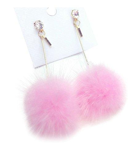 Ilishop Fashion Fur Pom Pom Ball Dangle Earrings