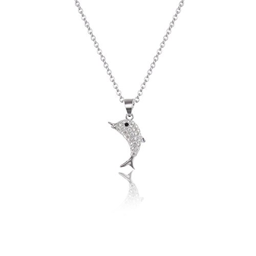 AMYJANE CZ Dolphin Necklace for Women - Small Silver Swarovski Elements Crystal Cubic Zirconia Dolphin Pendant Necklace Lucky Necklace Charm Birthday Gift Idea ()