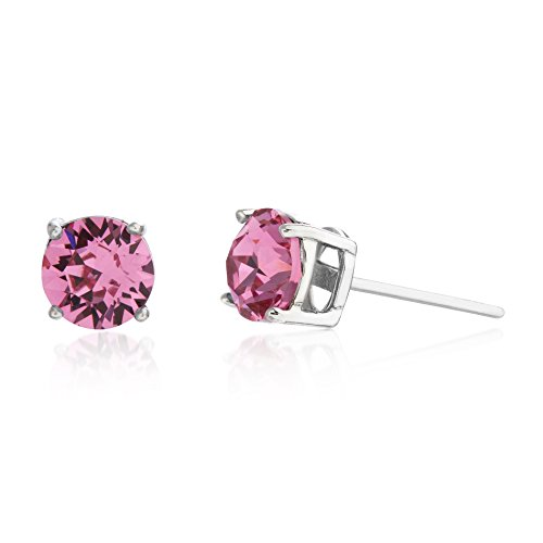 Rose Swarovski Crystal Silver Plated - Devin Rose Women's 6mm Round Solitaire Stud Earrings Made with Swarovski Crystals in Rhodium Plated Sterling Silver (Crystal Rose Imitation October Birthstone)