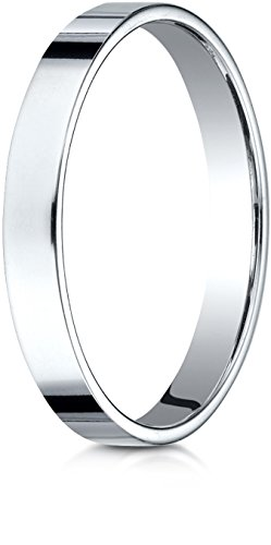 Benchmark 14K White Gold 3mm Traditional Flat Wedding Band Ring, Size 6.5 ()