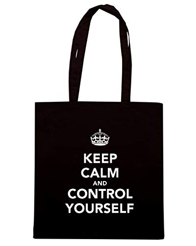 Speed Shirt Borsa Shopper Nera TKC0191 KEEP CALM AND CONTROL YOURSELF