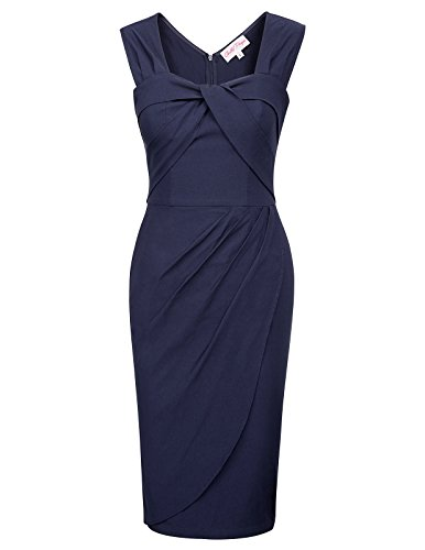 Bella Blue Dresses (Belle Poque Stretch Pencil Wiggle Evening Party Dress Hips-Wrapped(L,Navy Blue))