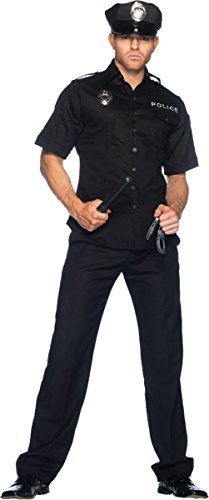 Leg Avenue Men's 4 Piece Policeman Costume, Black, X-Large ()