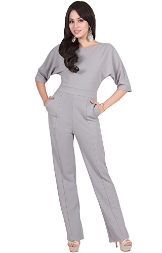 Viris Zamara Plus Size Womens Long Round Neck Batwing Short Sleeve Sexy Formal Cocktail Casual One Piece Pockets Dressy Pant Suit Suits Outfit Playsuit Romper Jumpsuit, Gray/Grey XL 14-16 ()