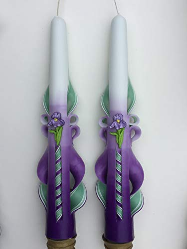 (Carved Taper Candles (10 inch) with Iris Accent for Spring Decor)