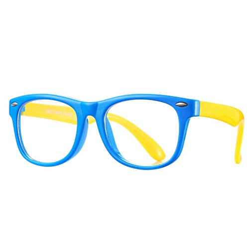 Pro Acme TPEE Rubber Flexible Kids Nerd Glasses Clear Lens Geek Fake for Costume (Age 3-10) (Blue/Yellow)