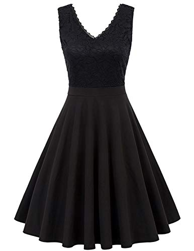 Jasambac Women's A-Line Pleated Sleeveless Cocktail Party Dress with Floral Lace Size M Color Black ()