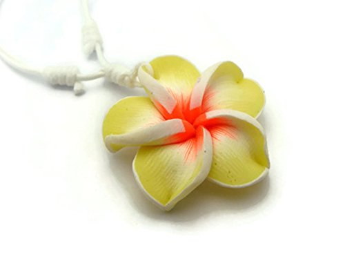 APECTO Hawaiian Fimo Plumeria Flower Pendant Charm Necklace Handmade (Yellow), NSN20 (Hawaiian Flower Fimo)