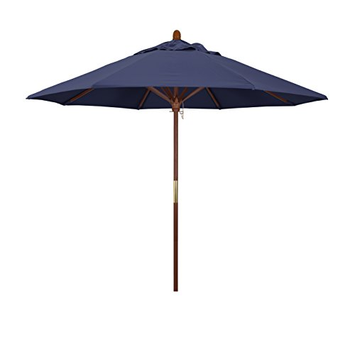 Market Blue Navy Umbrella - California Umbrella 9' Round Hardwood Frame Market Umbrella, Stainless Steel Hardware, Push Open, Navy Blue Olefin