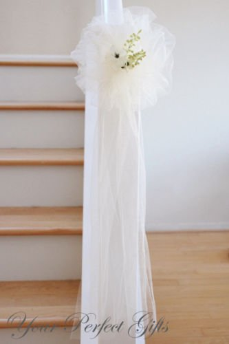 9'' IVORY TULLE NET WEDDING PEW BOWS BRIDAL DECOARTION by your_perfect_gifts