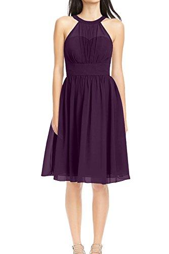 Linie Violett halter aermellos Neck Abendkleid Chiffon Ivydressing Einfach Partykleid Festkleid Mini Damen Dunkel A Ballkleid tw6Fq