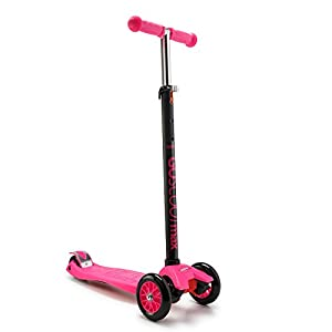 GoScoot Max, 3 Wheel Kick Scooter for Kids Aged 3+ by New Bounce|Portable Outdoor Toy with Adjustable Height for Toddlers and Older Children|Deluxe Design for Girls & Boys in Pink, Blue, Red (Pink)