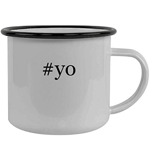 #yo - Stainless Steel Hashtag 12oz Camping Mug, Black]()