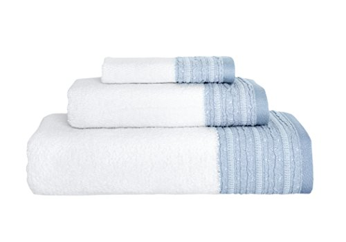 Garen 3-Piece Turkish Cotton Towel Set With Decorative Dobby - Ultra Soft Texture With Premium Absorbency - Perfect For Daily Use Or Home Decor (600 GSM) (Sky Blue) by Royal Turkish Towel