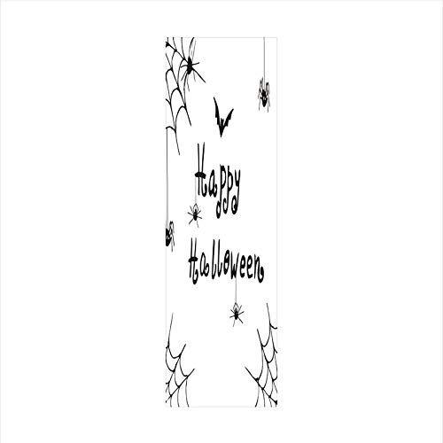 Decorative Window Film,No Glue Frosted Privacy Film,Stained Glass Door Film,Happy Halloween Celebration Monochrome Hand Drawn Style Creepy Doodle Artwork,for Home & Office,23.6In. by 78.7In Black Whit ()