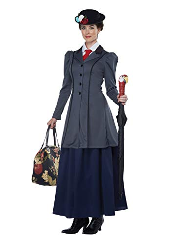 California Costumes Women's English Nanny - Adult Costume Adult Costume, -Gray/Navy, Large -