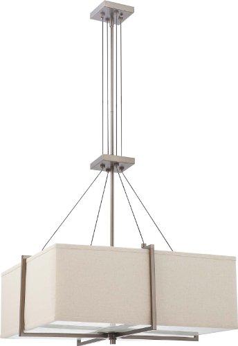 Nuvo Lighting 60/4487 Four Light Logan Square Pendant With Khaki Fabric  Shade/Cream Diffuser, Hazel Bronze