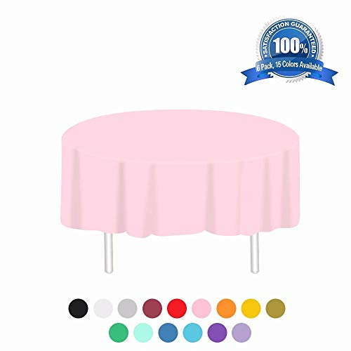 Pink Plastic Tablecloth 6 Pack Disposable Round Table Cloths 84in. x 84in. Table Covers for Parties Birthdays Picnic Weddings Christmas Indoor or Outdoor Use (Birthday Party Tablecloth Round)