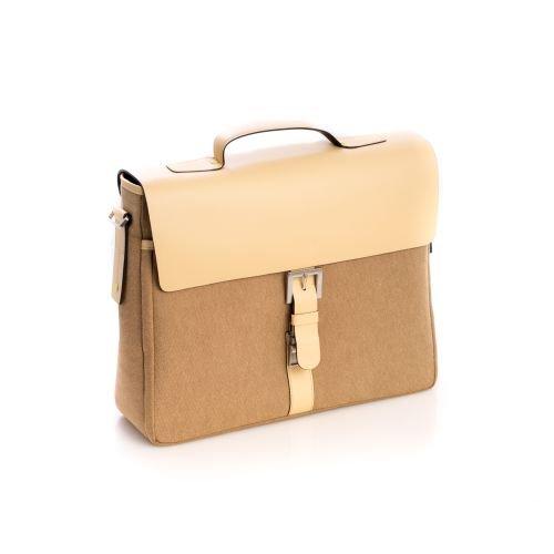 Ivory Leather & Khaki Fabric Executive Briefcase