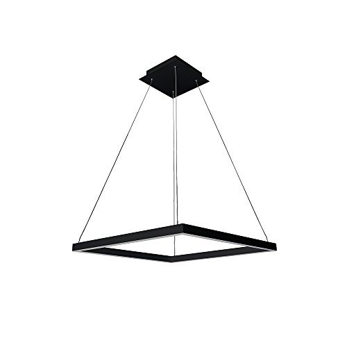 VONN VMC31620BL Atria 20 , Adjustable Suspension Fixture, Modern Square Chandelier Lighting in Black LED Pendant 19.75 L x 19.75 W x 120 8.75 H