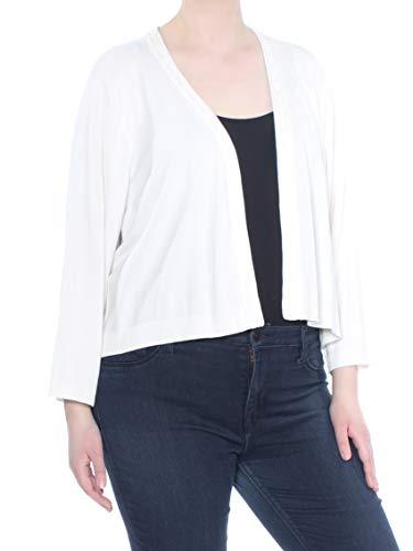 Calvin Klein Women's Plus Size Cropped Braided-Trim Cardigan (3X, Soft White)