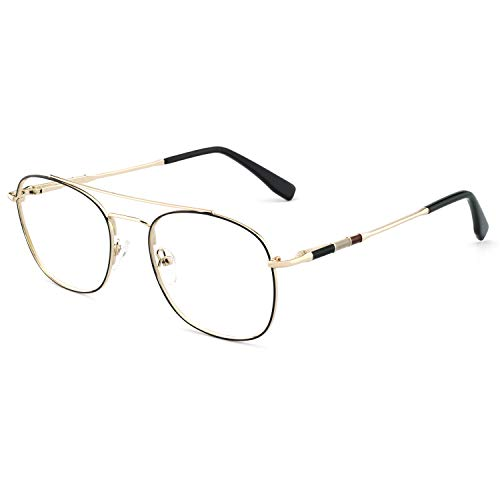 OCCI CHIARI Clear Lens Aviator Glasses Frame Men Eyewear for Fashion Classic Metal Eyeglasses (Black+Silver)
