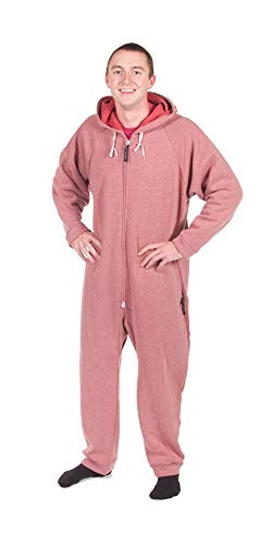 Forever Lazy Heavyweight Adult Onesie - Heathered Red - XXS