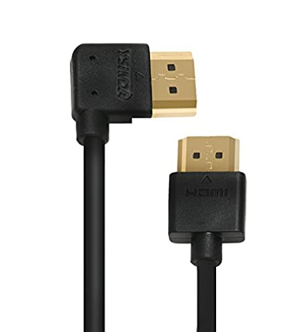 A to A HDMI Cable, Ysimda Ultra Slim Flexible Series One Port Saver 270 Degree Left- Angle A to A HDMI 2.0 High-speed Cable, 6ft, Golded Connecter, 18G, Supports Ethernet, 3D, 4K and Audio (Left Behind On Blu Ray)