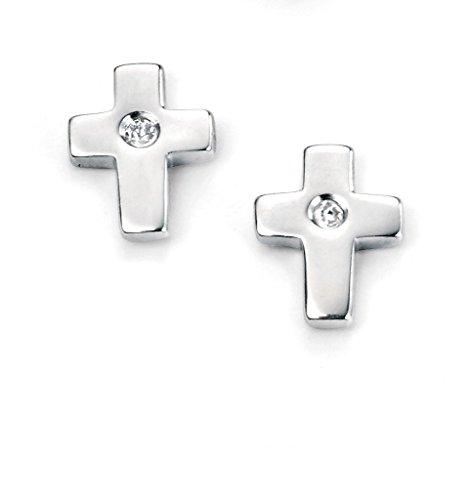 D for Diamond Boucles d'oreilles Croix pour Enfant / bébé