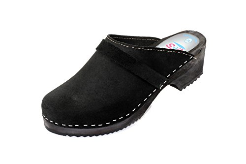 Size Black Suede Leather Sole with tres 7 Genuine Schwedenclogs Black Black H5xzqnAOnw