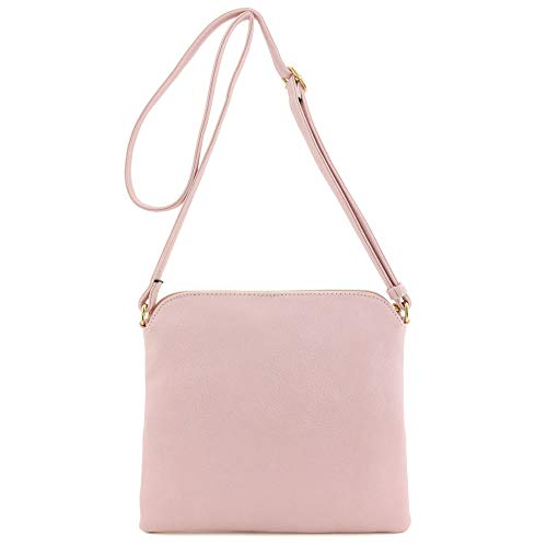 Lightweight Colorblock Medium Crossbody Bag with Tassel (Blush/White) by DELUXITY (Image #5)