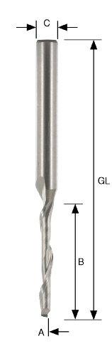 A Z1 Di/ámetro B 12 mm 3 mm Mango ENT Fresa para aluminio y PVC HSSE C L total de 60 mm 8 mm