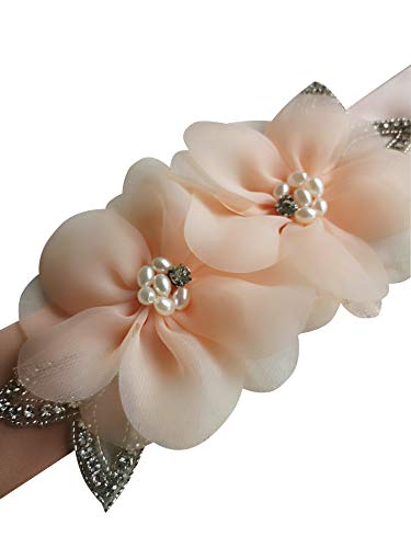Crystals and Two Organza Flowers with Special Design Pearls Wedding Sashs Dress Belts A19a (Blush)
