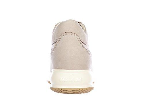 Hogan scarpe sneakers donna in pelle nuove interactive h bucata nabuk beige