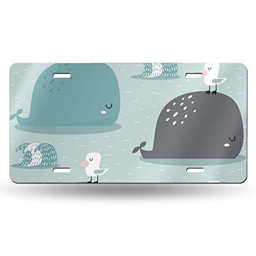 Poream Bird Standing On The Back of A Whale Personalized Novelty Label Aluminum License Plate Cover Protector for All Standard Cars 6