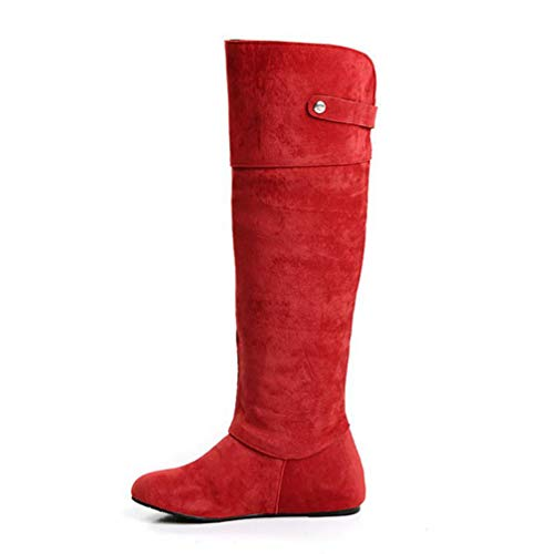 QSCQ Womens Flats Knee High Boots Fur Lined Round Toe Winter Fashion Warm Boots