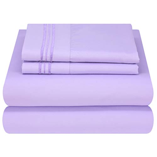 Mezzati Luxury Bed Sheet Set - Soft and Comfortable 1800 Prestige Collection - Brushed Microfiber Bedding (Lilac Lavender, Queen Size) ()