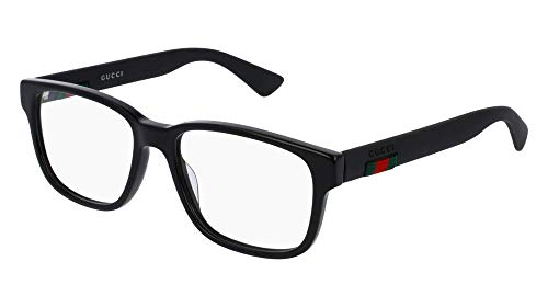 Gucci GG 0011O 001 Black Plastic Square Eyeglasses 53mm