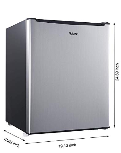 2.7 cubic foot compact dorm refrigerator Stainless Steel + Free Cleaning Fabric Cloth