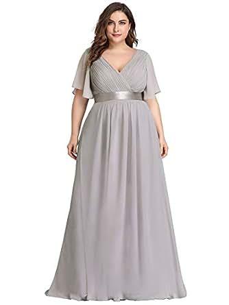 Alisapan Empire Waist Ruched Elegant Plus Size Bridesmaid Dresses for Women Grey US10